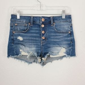 American Eagle High Rise Button Fly Cut Off Jeans
